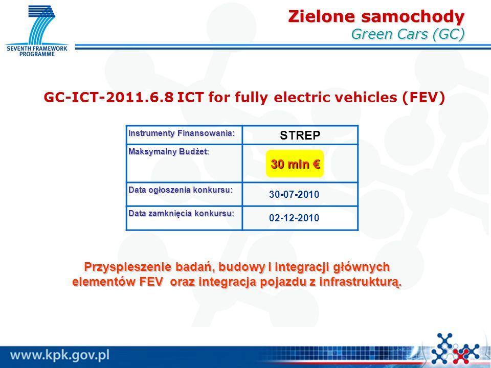 GC-ICT-2011.6.8 ICT for fully electric vehicles (FEV) Instrumenty Finansowania: STREP Maksymalny Budżet: Data ogłoszenia konkursu: 30-07-2010 Data zamknięcia konkursu: 02-12-2010 30 mln € Przyspieszenie badań, budowy i integracji głównych elementów FEV oraz integracja pojazdu z infrastrukturą.