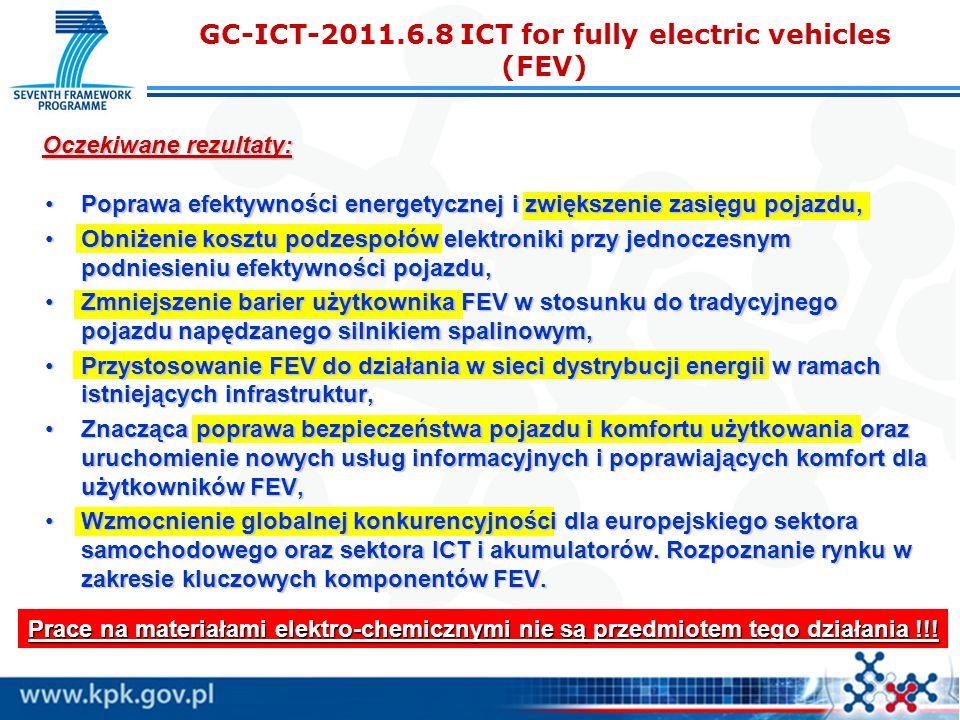 Poprawa efektywności energetycznej i zwiększenie zasięgu pojazdu,Poprawa efektywności energetycznej i zwiększenie zasięgu pojazdu, Obniżenie kosztu podzespołów elektroniki przy jednoczesnym podniesieniu efektywności pojazdu,Obniżenie kosztu podzespołów elektroniki przy jednoczesnym podniesieniu efektywności pojazdu, Zmniejszenie barier użytkownika FEV w stosunku do tradycyjnego pojazdu napędzanego silnikiem spalinowym,Zmniejszenie barier użytkownika FEV w stosunku do tradycyjnego pojazdu napędzanego silnikiem spalinowym, Przystosowanie FEV do działania w sieci dystrybucji energii w ramach istniejących infrastruktur,Przystosowanie FEV do działania w sieci dystrybucji energii w ramach istniejących infrastruktur, Znacząca poprawa bezpieczeństwa pojazdu i komfortu użytkowania oraz uruchomienie nowych usług informacyjnych i poprawiających komfort dla użytkowników FEV,Znacząca poprawa bezpieczeństwa pojazdu i komfortu użytkowania oraz uruchomienie nowych usług informacyjnych i poprawiających komfort dla użytkowników FEV, Wzmocnienie globalnej konkurencyjności dla europejskiego sektora samochodowego oraz sektora ICT i akumulatorów.