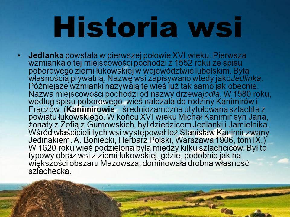 Historia wsi Jedlanka powstała w pierwszej połowie XVI wieku.