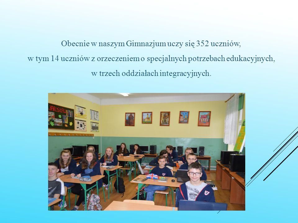 Obecnie w naszym Gimnazjum uczy się 352 uczniów, w tym 14 uczniów z orzeczeniem o specjalnych potrzebach edukacyjnych, w trzech oddziałach integracyjnych.