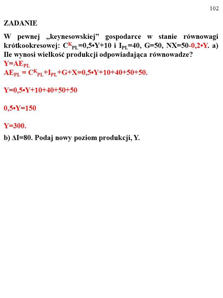 """101 ZADANIE W pewnej """"keynesowskiej"""" gospodarce w stanie równowagi krótkookresowej: C K PL =0,5Y+10 i I PL =40, G=50, NX=50-0,2Y. a) Ile wynosi wielko"""