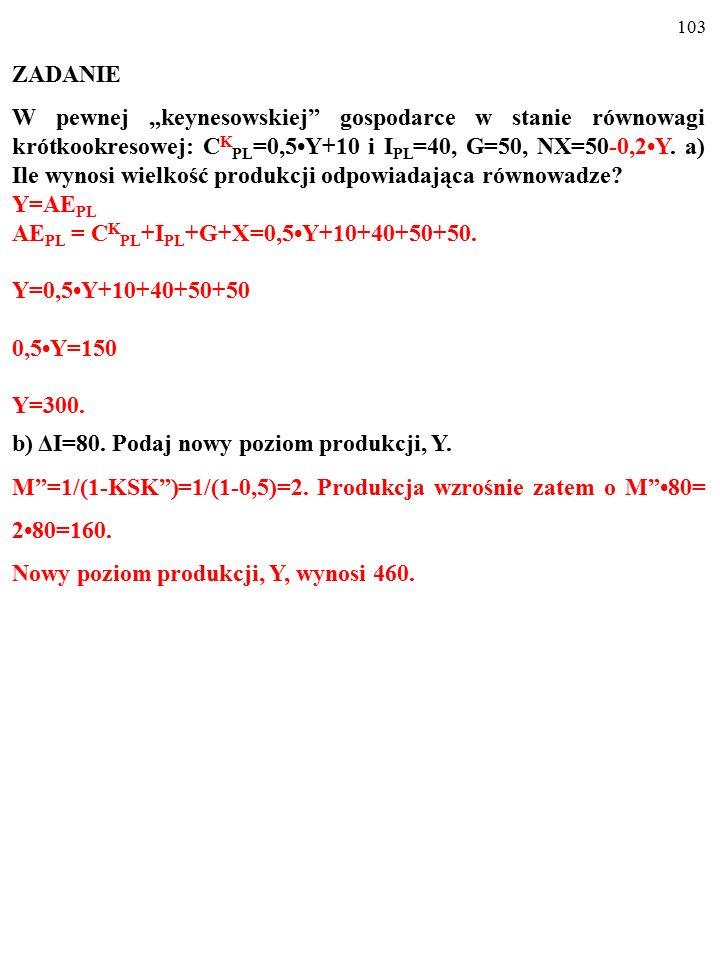 """102 ZADANIE W pewnej """"keynesowskiej gospodarce w stanie równowagi krótkookresowej: C K PL =0,5Y+10 i I PL =40, G=50, NX=50-0,2Y."""