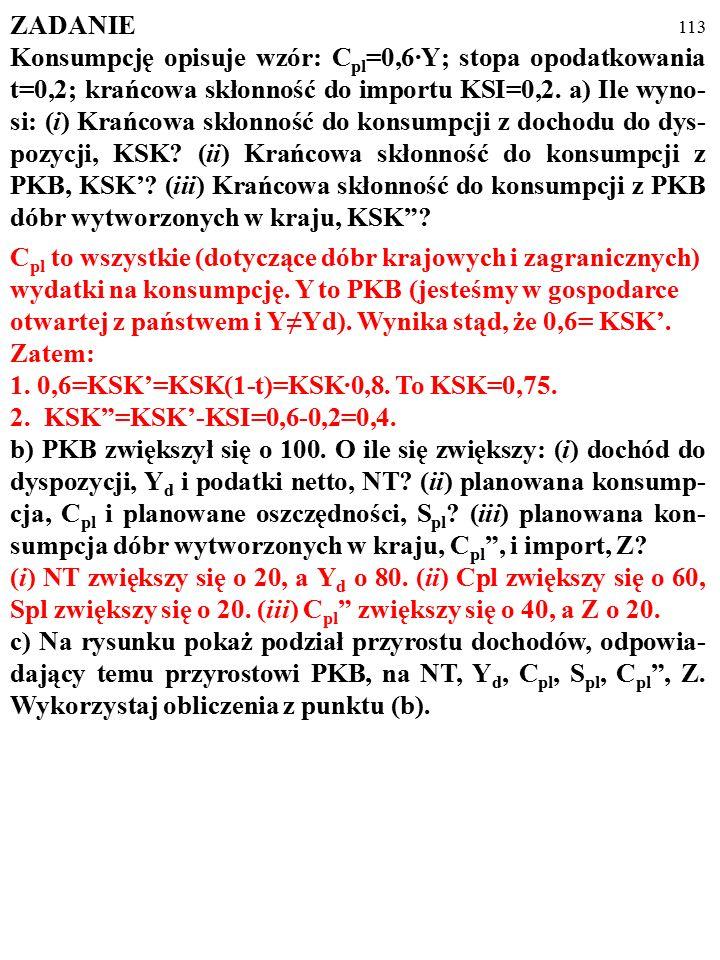 112 ZADANIE Konsumpcję opisuje wzór: C pl =0,6·Y; stopa opodatkowania t=0,2; krańcowa skłonność do importu KSI=0,2. a) Ile wyno- si: (i) Krańcowa skło