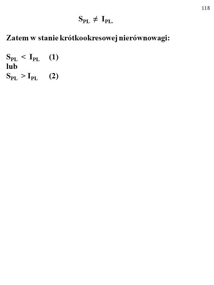 117 W stanie krótkookresowej nierównowagi: Y ≠ AE PL, więc: Y ≠ C PL + I PL (1) Zarazem: Y = C PL + S PL (2) Zatem w stanie krótkookresowej nierównowagi: S PL ≠ I PL (3).
