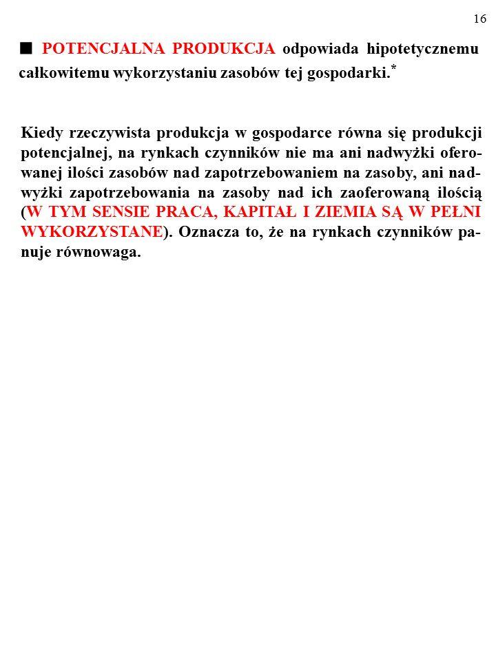 15 Y E =AE PL Uwaga! Chodzi o RZECZYWISTĄ produkcję, Y, w gospodarce, a nie o produkcję POTENCJALNĄ, Y p … ■ RZECZYWISTA PRODUKCJA stanowi ilość dóbr