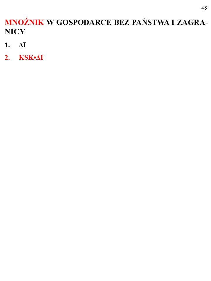 47 MNOŻNIK W GOSPODARCE BEZ PAŃSTWA I ZAGRA- NICY 1.ΔI (albo: ΔG, ΔX…)