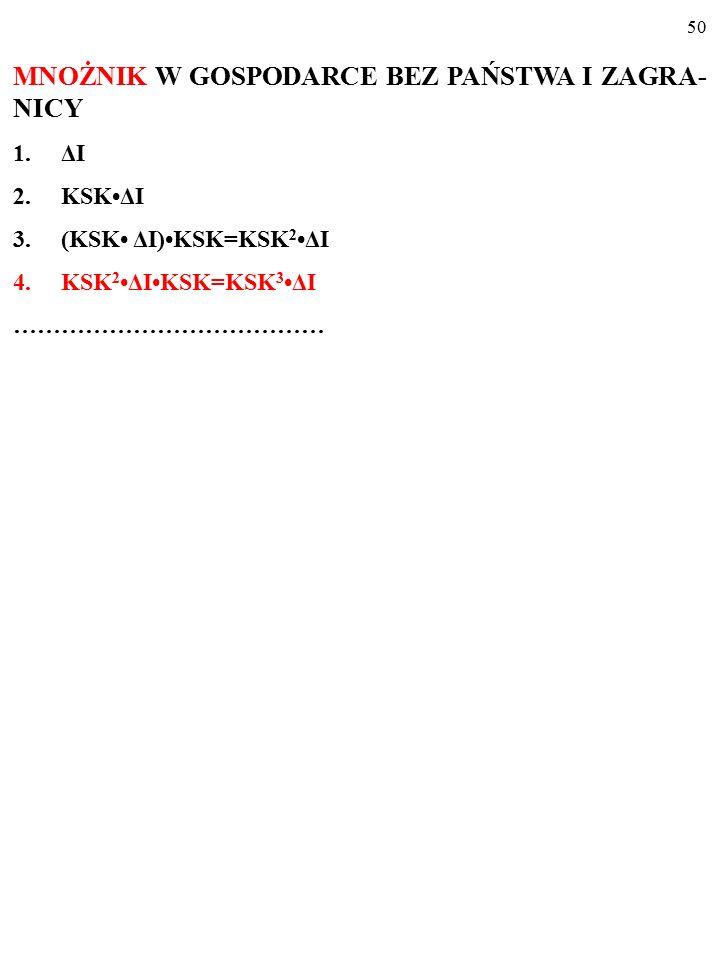 49 MNOŻNIK W GOSPODARCE BEZ PAŃSTWA I ZAGRA- NICY 1.ΔI 2.KSKΔI 3.(KSK ΔI)KSK=KSK 2ΔI