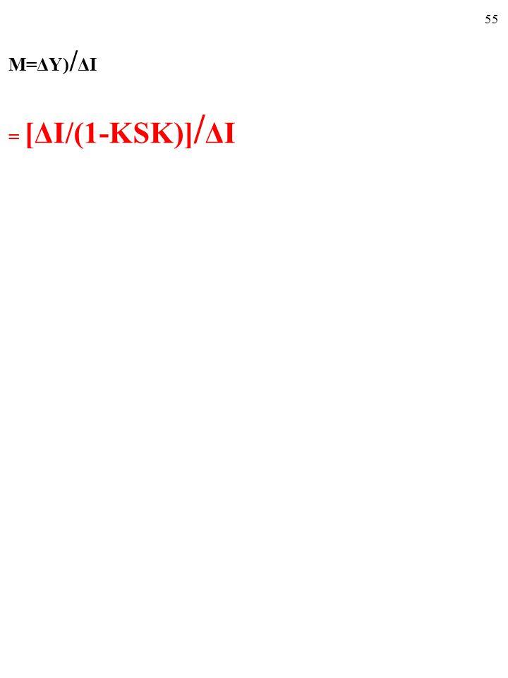 54 ■ Mnożnik, M, to LICZBA, równa stosunkowi CAŁEJ zmiany wielkości odpowiadającej równowadze produkcji, ΔY E, do będącej przyczyną tej całej zmiany wielkości produkcji, ΔY E, początkowej zmiany zagregowanych wydatków, ΔAE PL (np.