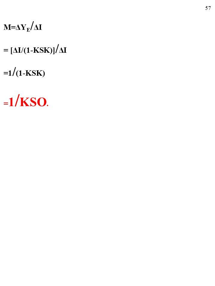 56 M=ΔY E / ΔI = [ΔI/(1-KSK)] / ΔI = 1 / (1-KSK)