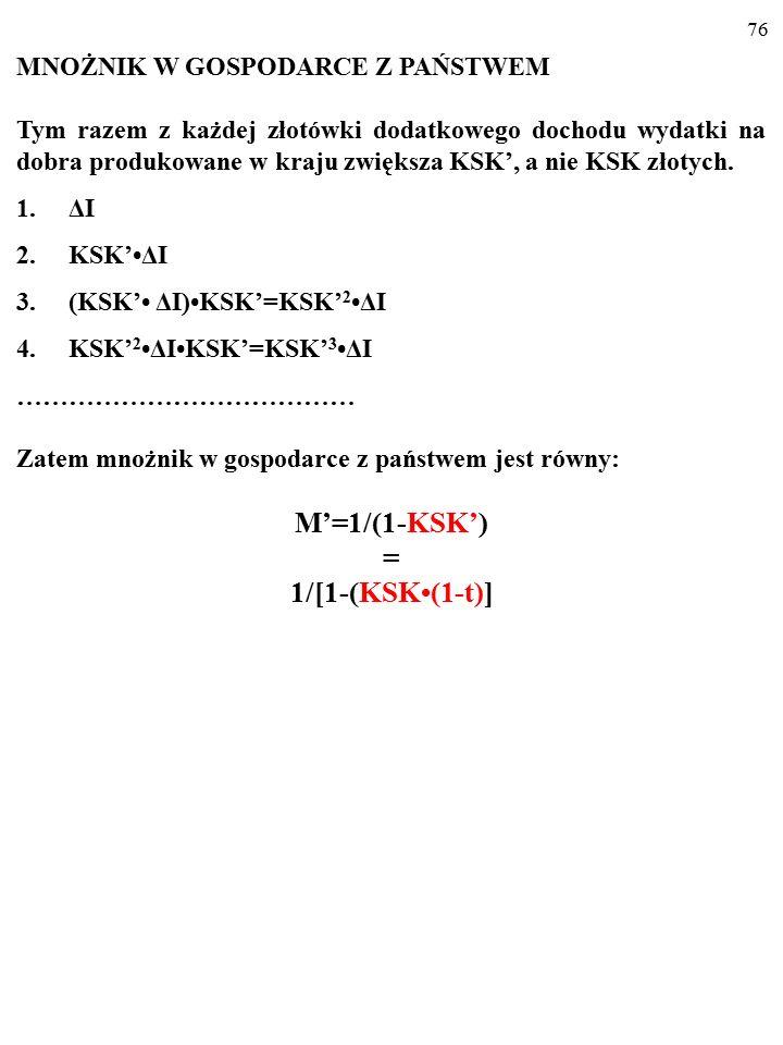 75 KSK' = KSK(1-t). KSK'<KSK, więc nachylenie wykresu funkcji konsumpcji w gospo- darce z państwem (a więc także nachylenie wykresu AE PL ), C PL = KS