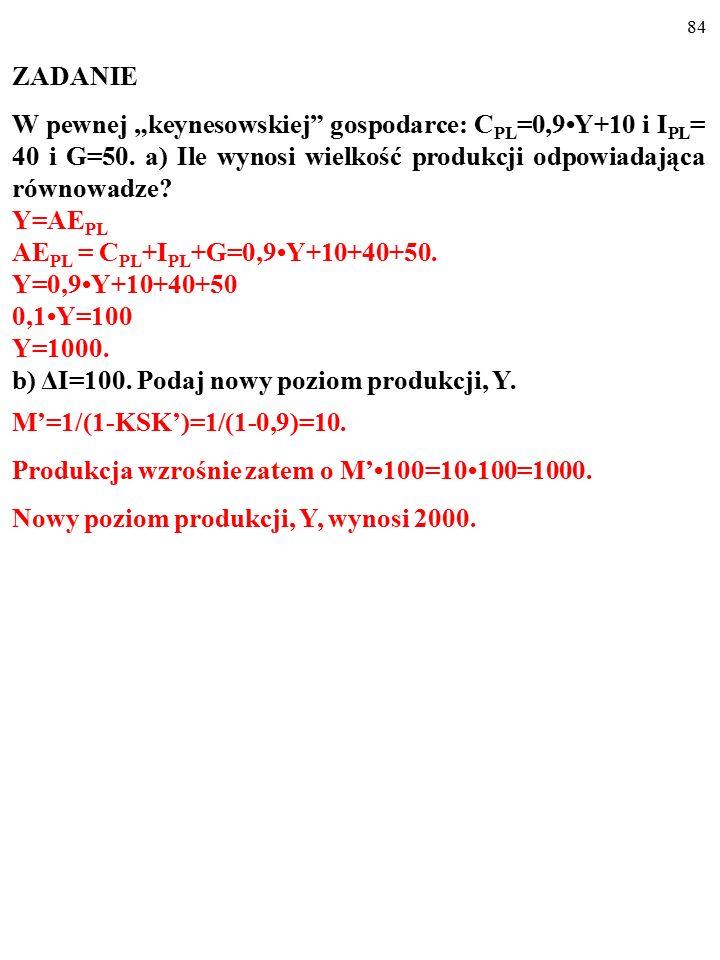 """83 ZADANIE W pewnej """"keynesowskiej"""" gospodarce: C PL =0,9Y+10 i I PL = 40 i G=50. a) Ile wynosi wielkość produkcji odpowiadająca równowadze? Y=AE PL A"""