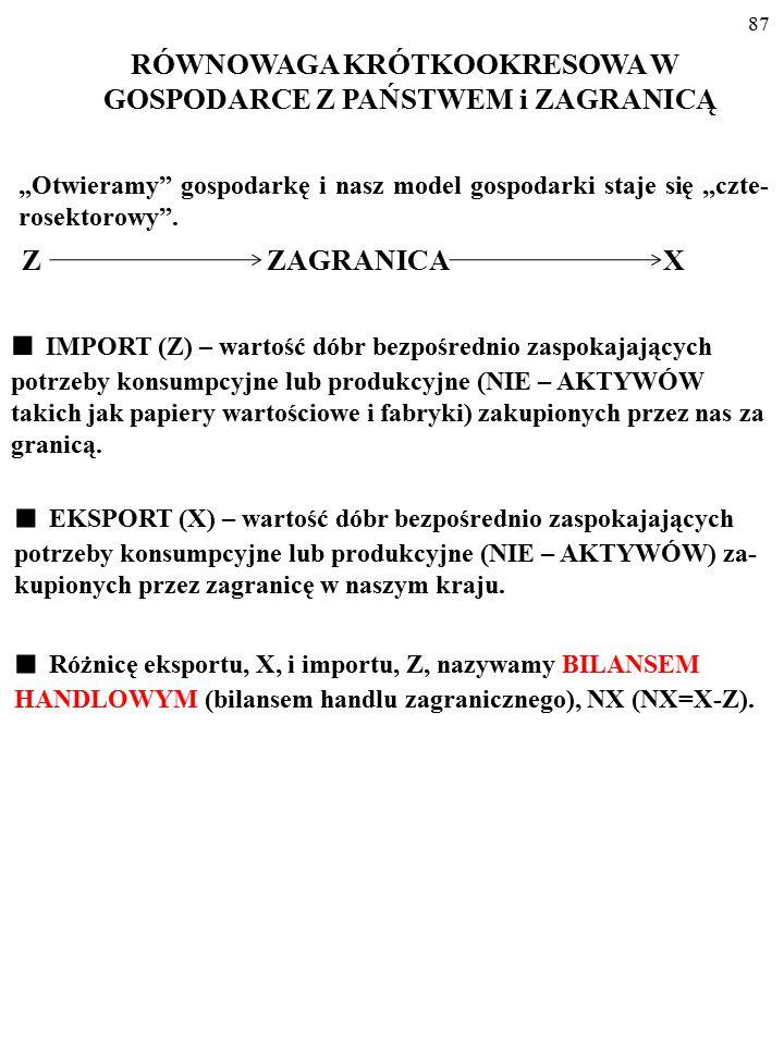 """86 Z ZAGRANICA X """"Otwieramy"""" gospodarkę i nasz model gospodarki staje się """"CZTEROSEKTOROWY"""". RÓWNOWAGA KRÓTKOOKRESOWA W GOSPODARCE Z PAŃSTWEM i ZAGRAN"""