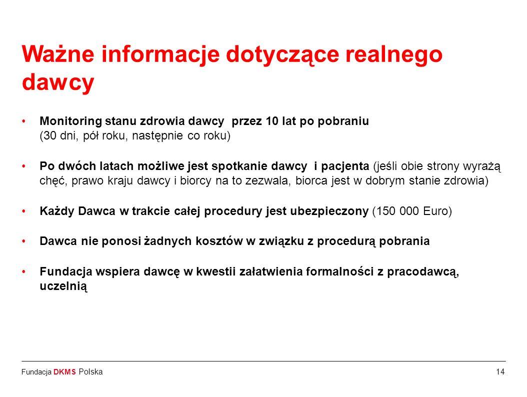 Fundacja DKMS Polska14 Ważne informacje dotyczące realnego dawcy Monitoring stanu zdrowia dawcy przez 10 lat po pobraniu (30 dni, pół roku, następnie