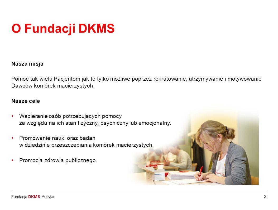 Fundacja DKMS Polska14 Ważne informacje dotyczące realnego dawcy Monitoring stanu zdrowia dawcy przez 10 lat po pobraniu (30 dni, pół roku, następnie co roku) Po dwóch latach możliwe jest spotkanie dawcy i pacjenta (jeśli obie strony wyrażą chęć, prawo kraju dawcy i biorcy na to zezwala, biorca jest w dobrym stanie zdrowia) Każdy Dawca w trakcie całej procedury jest ubezpieczony (150 000 Euro) Dawca nie ponosi żadnych kosztów w związku z procedurą pobrania Fundacja wspiera dawcę w kwestii załatwienia formalności z pracodawcą, uczelnią