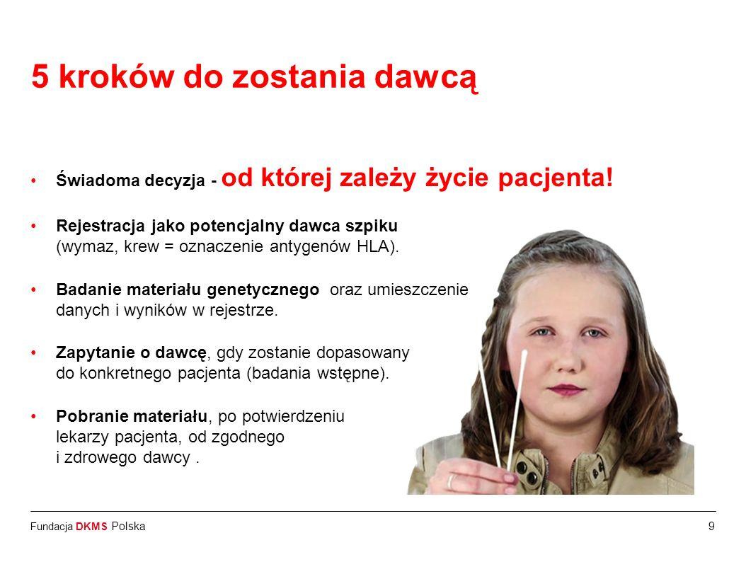 Fundacja DKMS Polska Świadoma decyzja - od której zależy życie pacjenta! Rejestracja jako potencjalny dawca szpiku (wymaz, krew = oznaczenie antygenów