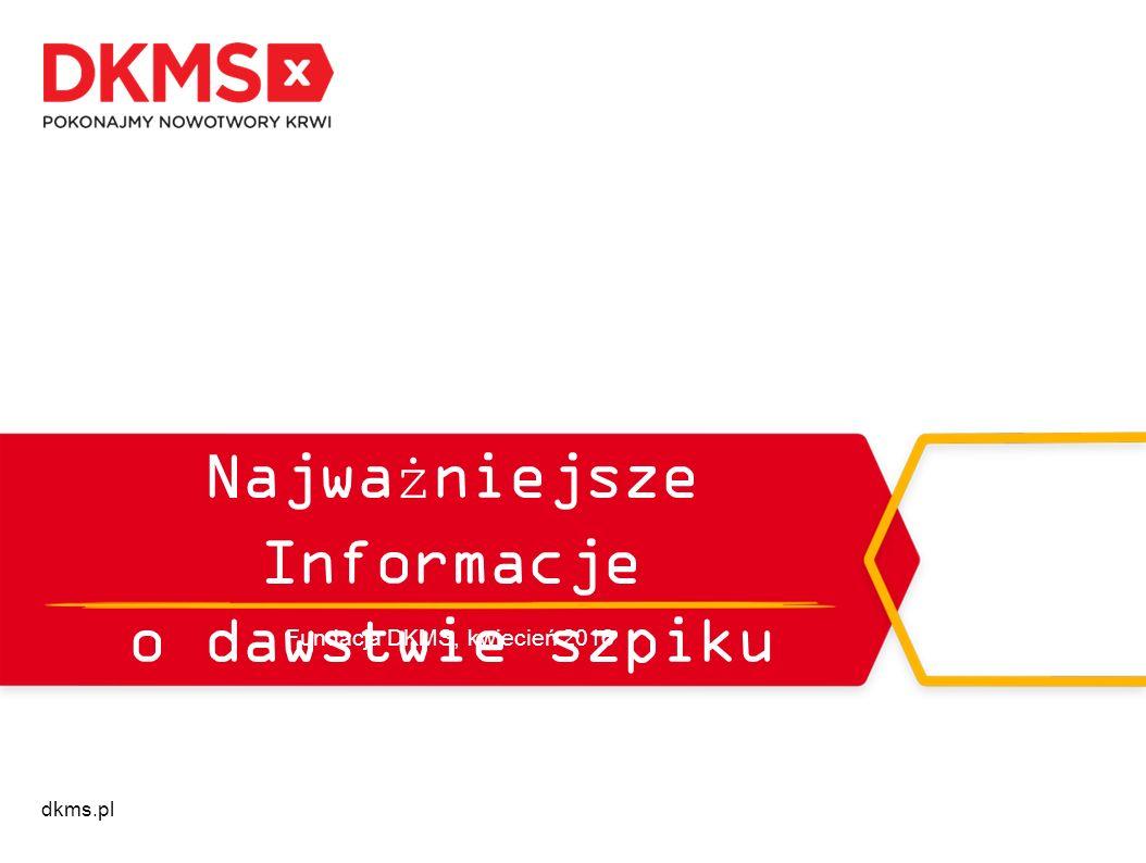 dkms.pl Najważniejsze Informacje o dawstwie szpiku Fundacja DKMS, kwiecień 2016