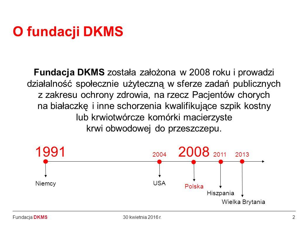 Fundacja DKMS Fundacja DKMS została założona w 2008 roku i prowadzi działalność społecznie użyteczną w sferze zadań publicznych z zakresu ochrony zdrowia, na rzecz Pacjentów chorych na białaczkę i inne schorzenia kwalifikujące szpik kostny lub krwiotwórcze komórki macierzyste krwi obwodowej do przeszczepu.