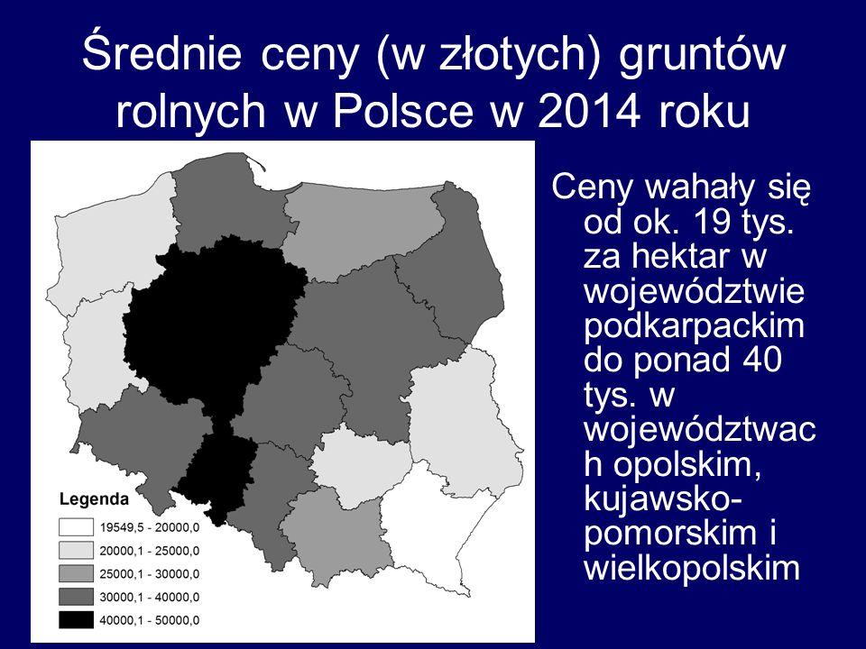 Średnie ceny (w złotych) gruntów rolnych w Polsce w 2014 roku Ceny wahały się od ok. 19 tys. za hektar w województwie podkarpackim do ponad 40 tys. w