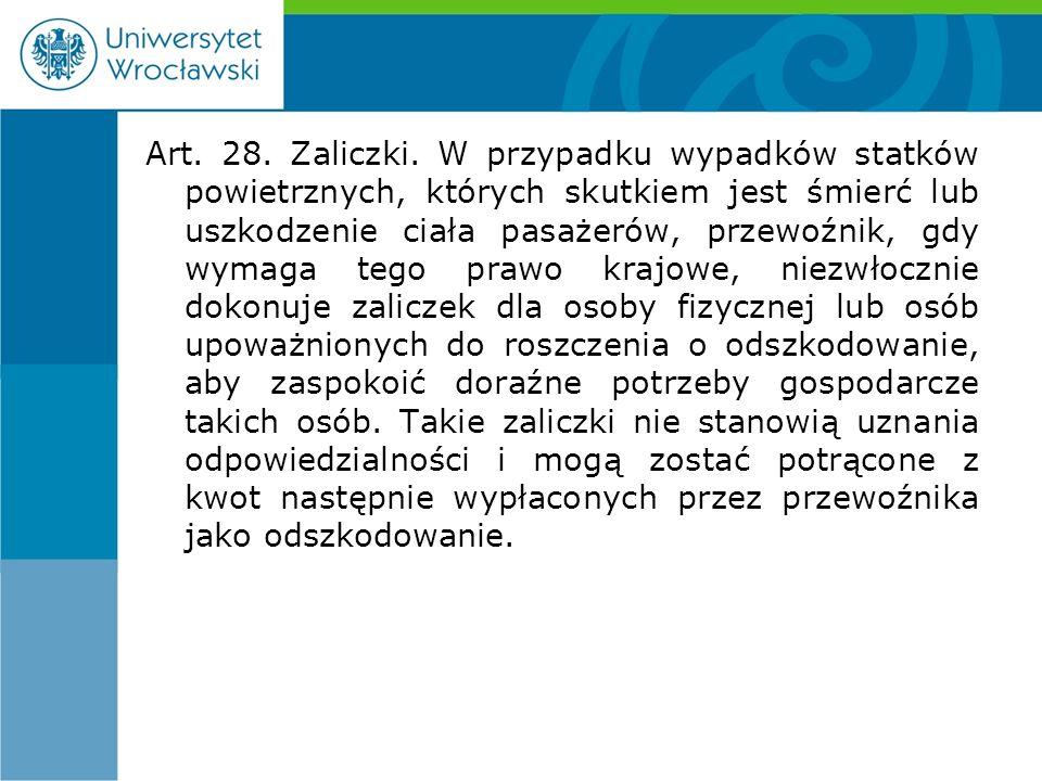 Art. 28. Zaliczki.