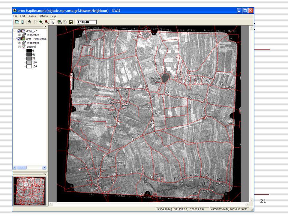 21 Porównanie fotomapy i ortofotomapy z danymi referencyjnymi 1/2  W oknie fotomapy i ortofotomapy dodajemy warstwę wektorową przedstawiającą osie dr