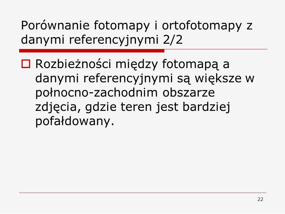 22 Porównanie fotomapy i ortofotomapy z danymi referencyjnymi 2/2  Rozbieżności między fotomapą a danymi referencyjnymi są większe w połnocno-zachodn