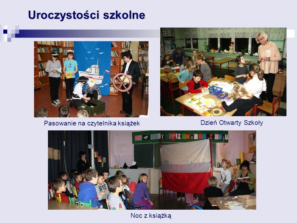 Uroczystości szkolne Pasowanie na czytelnika książek Noc z książką Dzień Otwarty Szkoły