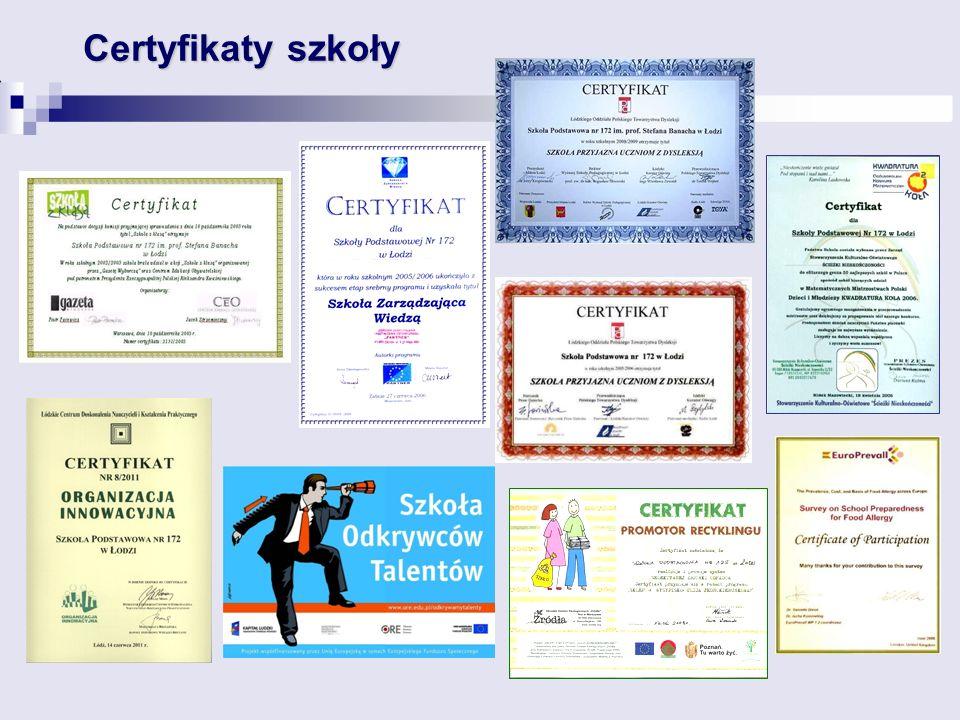 Certyfikaty szkoły