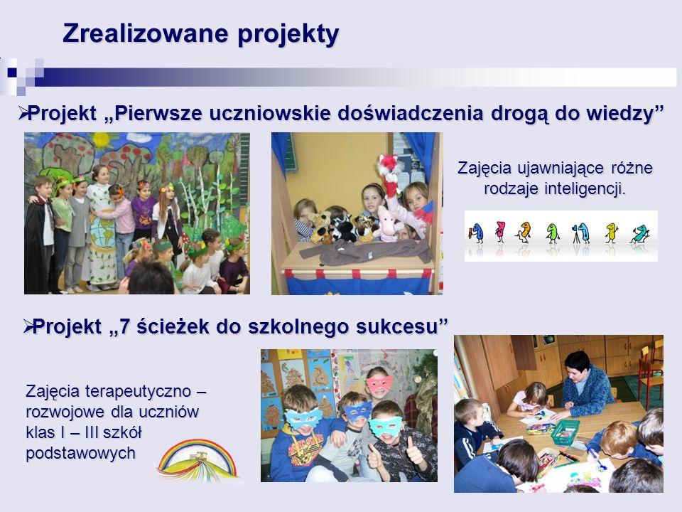 """ Projekt """"Pierwsze uczniowskie doświadczenia drogą do wiedzy Zrealizowane projekty  Projekt """"7 ścieżek do szkolnego sukcesu Zajęcia terapeutyczno – rozwojowe dla uczniów klas I – III szkół podstawowych Zajęcia ujawniające różne rodzaje inteligencji."""
