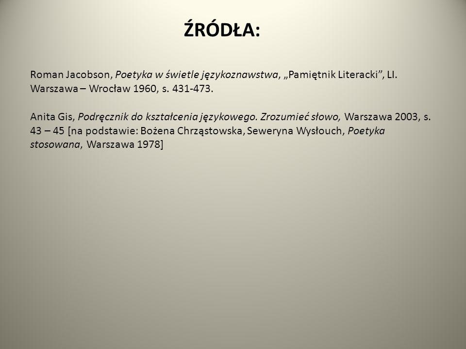 """ŹRÓDŁA: Roman Jacobson, Poetyka w świetle językoznawstwa, """"Pamiętnik Literacki , LI."""