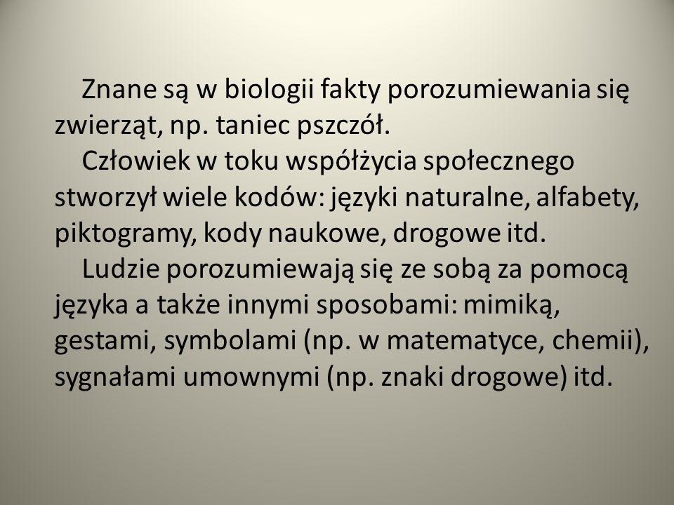 Znane są w biologii fakty porozumiewania się zwierząt, np.