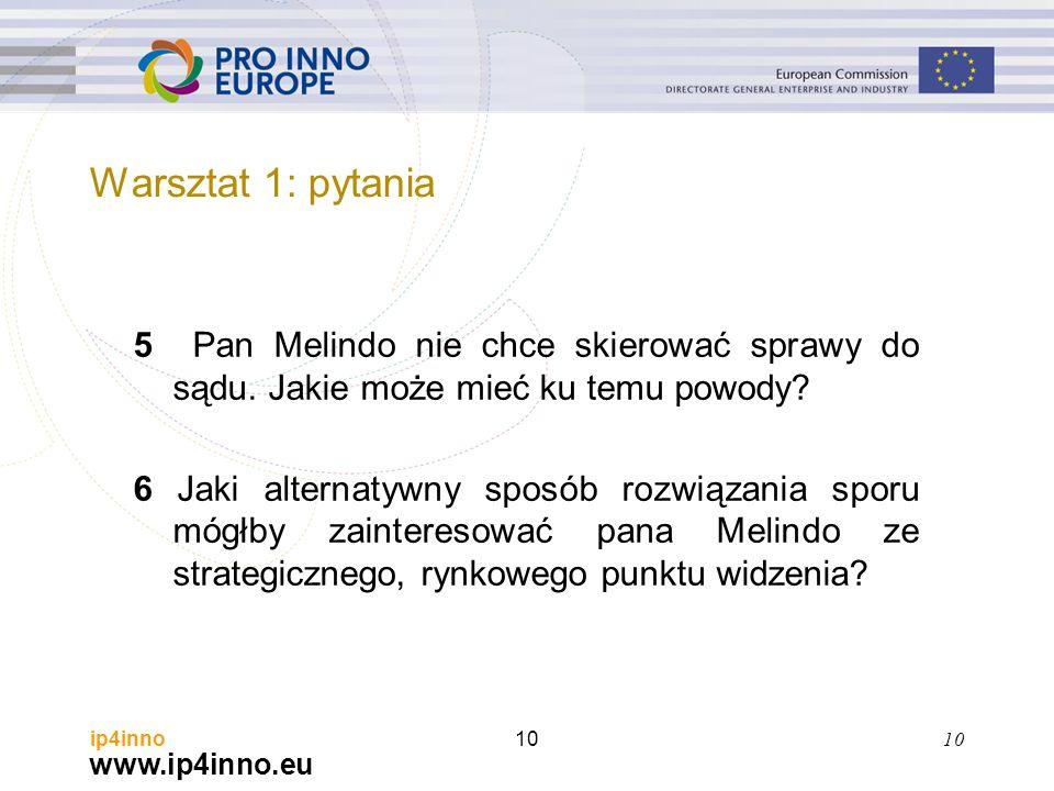 www.ip4inno.eu ip4inno10 5 Pan Melindo nie chce skierować sprawy do sądu. Jakie może mieć ku temu powody? 6 Jaki alternatywny sposób rozwiązania sporu
