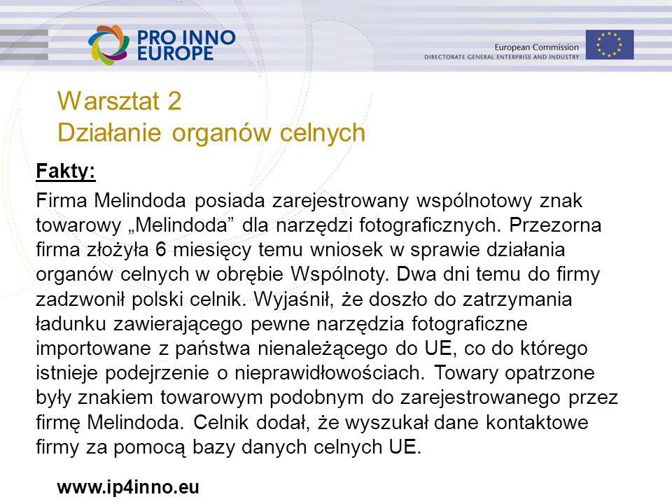 """www.ip4inno.eu Warsztat 2 Działanie organów celnych Fakty: Firma Melindoda posiada zarejestrowany wspólnotowy znak towarowy """"Melindoda"""" dla narzędzi f"""