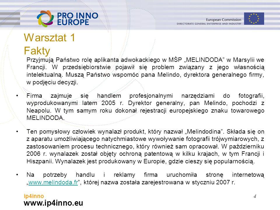 """www.ip4inno.eu ip4inno Przyjmują Państwo rolę aplikanta adwokackiego w MŚP """"MELINDODA"""" w Marsylii we Francji. W przedsiębiorstwie pojawił się problem"""