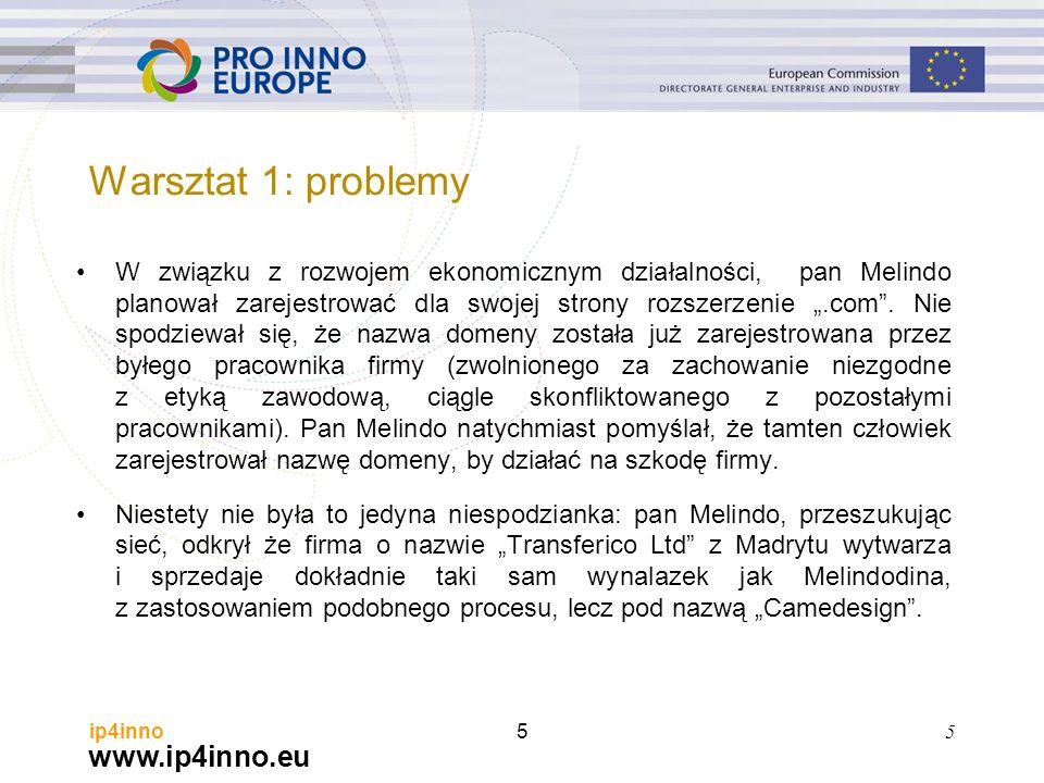 """www.ip4inno.eu ip4inno5 W związku z rozwojem ekonomicznym działalności, pan Melindo planował zarejestrować dla swojej strony rozszerzenie """".com"""". Nie"""
