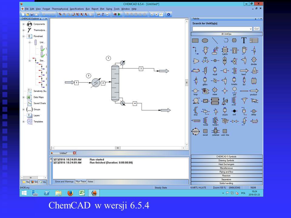ChemCAD w wersji 6.5.4