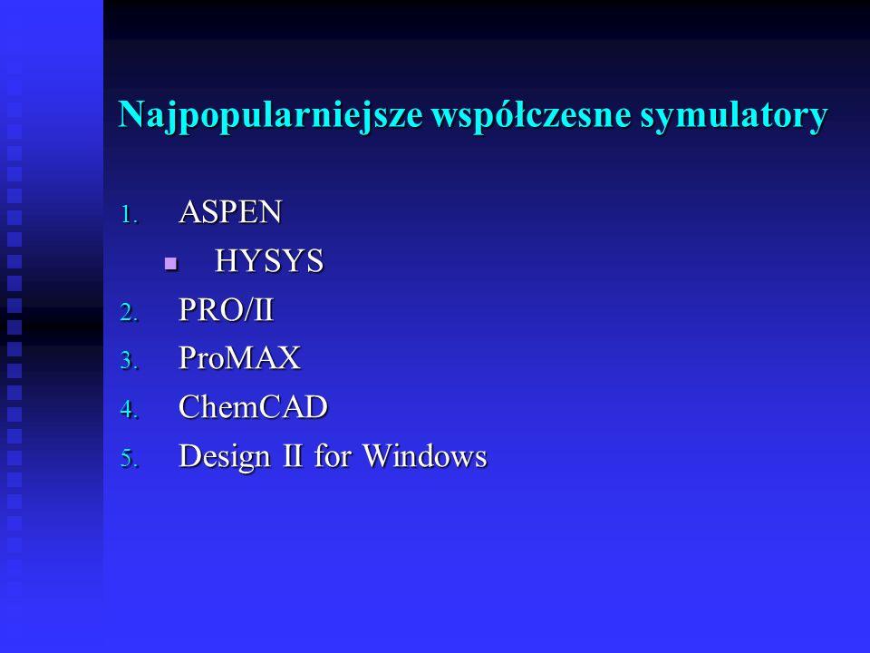 Najpopularniejsze współczesne symulatory 1. ASPEN HYSYS HYSYS 2. PRO/II 3. ProMAX 4. ChemCAD 5. Design II for Windows