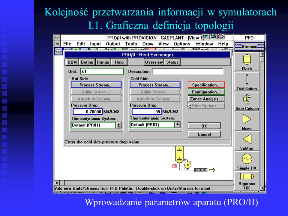 Wprowadzanie parametrów aparatu (PRO/II) Kolejność przetwarzania informacji w symulatorach I.1. Graficzna definicja topologii