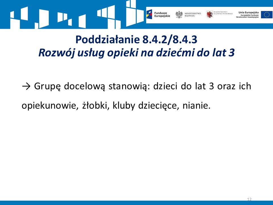 Poddziałanie 8.4.2/8.4.3 Rozwój usług opieki na dziećmi do lat 3 → Grupę docelową stanowią: dzieci do lat 3 oraz ich opiekunowie, żłobki, kluby dziecięce, nianie.