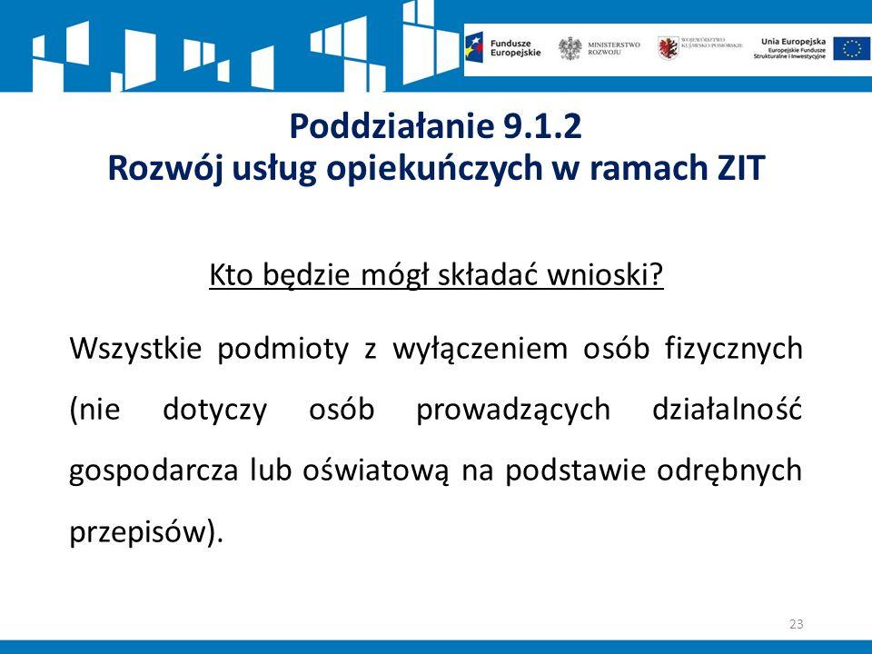 Poddziałanie 9.1.2 Rozwój usług opiekuńczych w ramach ZIT Kto będzie mógł składać wnioski.