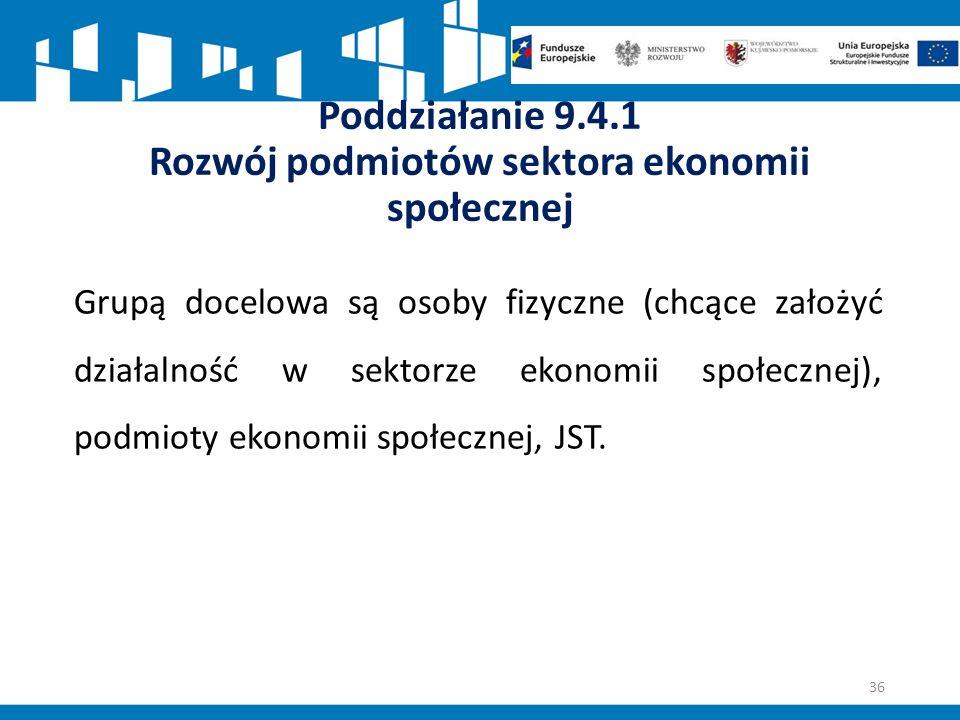 Poddziałanie 9.4.1 Rozwój podmiotów sektora ekonomii społecznej Grupą docelowa są osoby fizyczne (chcące założyć działalność w sektorze ekonomii społecznej), podmioty ekonomii społecznej, JST.