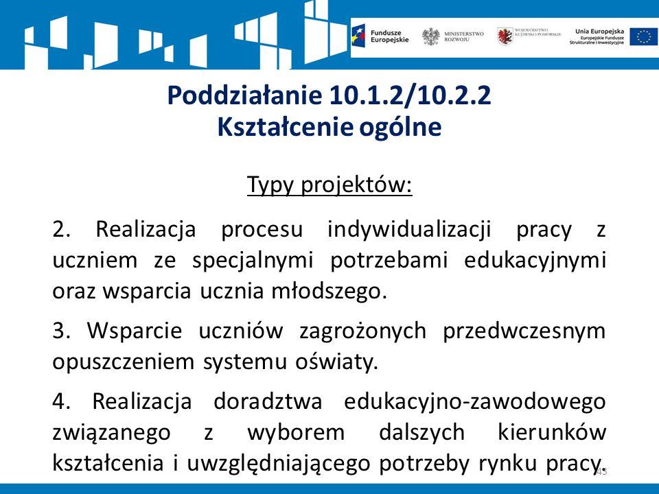 Poddziałanie 10.1.2/10.2.2 Kształcenie ogólne Typy projektów: 2.