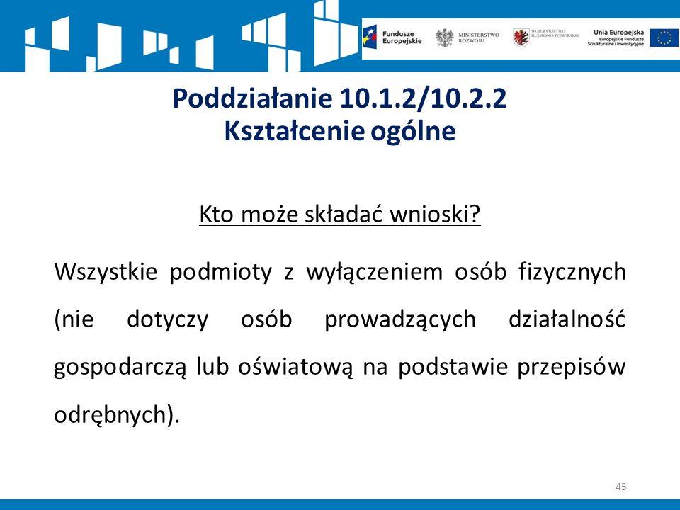 Poddziałanie 10.1.2/10.2.2 Kształcenie ogólne Kto może składać wnioski.