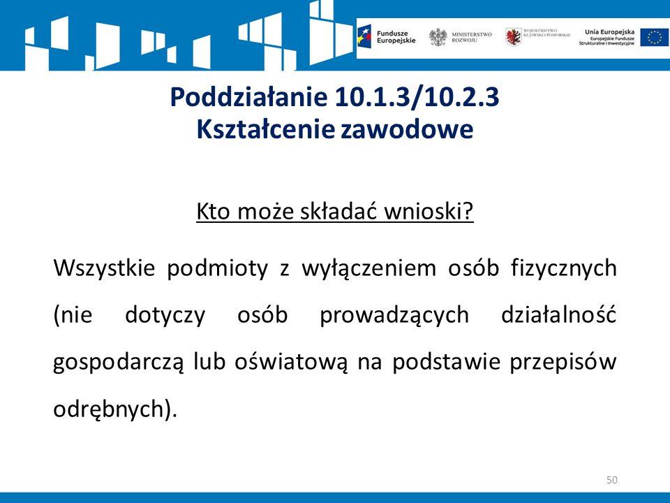 Poddziałanie 10.1.3/10.2.3 Kształcenie zawodowe Kto może składać wnioski.