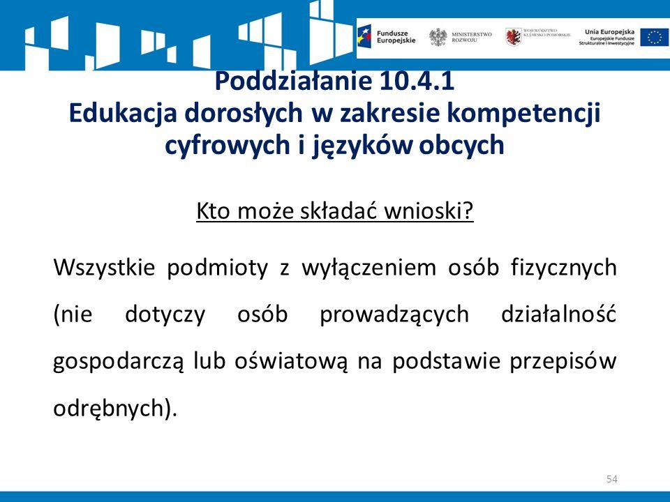 Poddziałanie 10.4.1 Edukacja dorosłych w zakresie kompetencji cyfrowych i języków obcych Kto może składać wnioski.