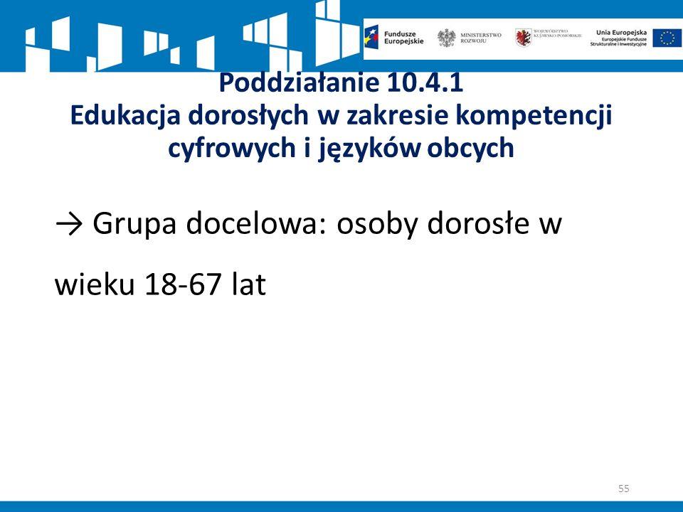 Poddziałanie 10.4.1 Edukacja dorosłych w zakresie kompetencji cyfrowych i języków obcych → Grupa docelowa: osoby dorosłe w wieku 18-67 lat 55