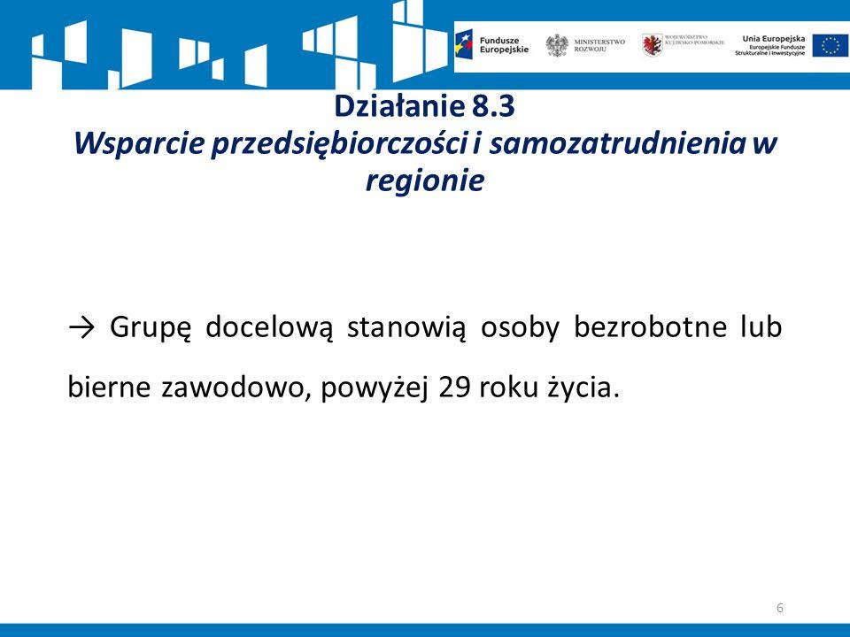 Działanie 8.3 Wsparcie przedsiębiorczości i samozatrudnienia w regionie → Grupę docelową stanowią osoby bezrobotne lub bierne zawodowo, powyżej 29 roku życia.