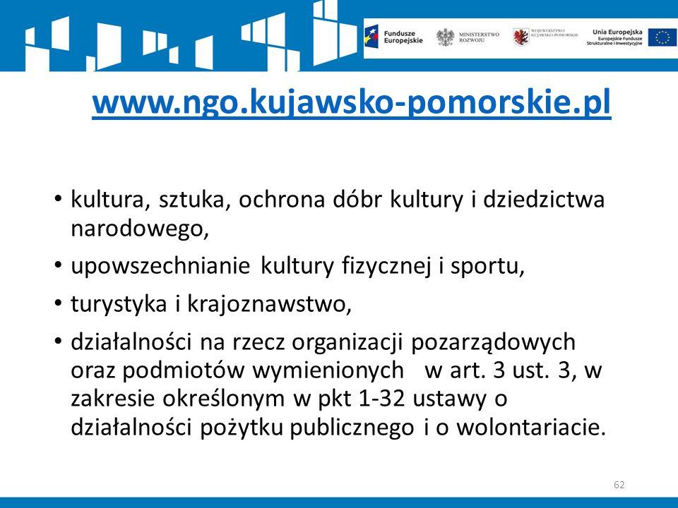 www.ngo.kujawsko-pomorskie.pl kultura, sztuka, ochrona dóbr kultury i dziedzictwa narodowego, upowszechnianie kultury fizycznej i sportu, turystyka i krajoznawstwo, działalności na rzecz organizacji pozarządowych oraz podmiotów wymienionych w art.