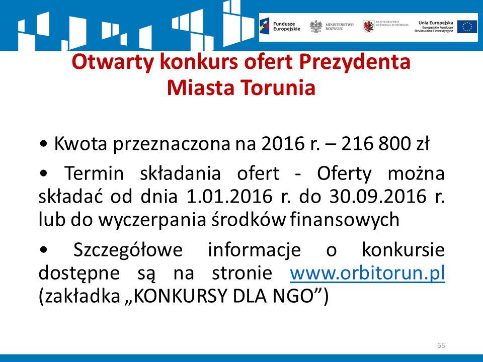 Otwarty konkurs ofert Prezydenta Miasta Torunia Kwota przeznaczona na 2016 r.