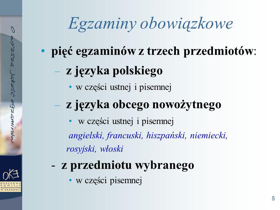 5 Egzaminy obowiązkowe pięć egzaminów z trzech przedmiotów: – z języka polskiego w części ustnej i pisemnej – z języka obcego nowożytnego w części ustnej i pisemnej angielski, francuski, hiszpański, niemiecki, rosyjski, włoski - z przedmiotu wybranego w części pisemnej
