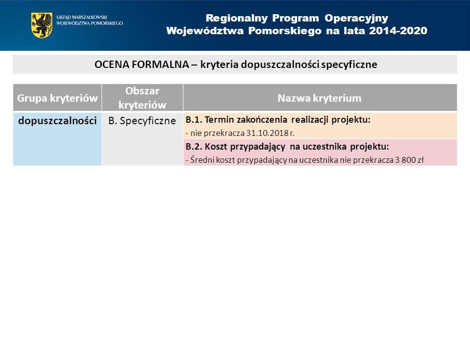 Grupa kryteriów Obszar kryteriów Nazwa kryterium dopuszczalności B.
